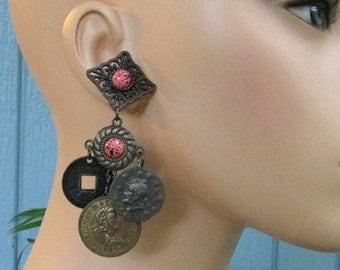 Antique Brass Bold Coin Earrings, Faux Coral Cabs, Pierced Studs, Vintage 1980's Long Boho Gypsy Earrings, Hippie Jewelry