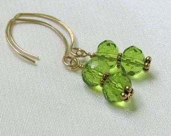 Gold Filled Peridot Crystal Earrings, Handmade Almond Earwires, Wire Wrapped with Bali Vermeil, August Birthday Gift for Her