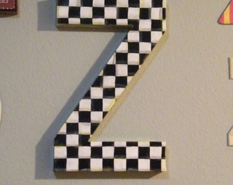 "MacKenzie Childs Inspired Whimsical Black and White 15"" LARGE Letter Initial, Your Choice - painted to order Checks"