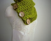 Green Chunky Scarf Boston Harbor Scarf, Three Button Cowl Scarf, Chunky Button Cowl Scarf, Cowl with 3 Buttons, Cream, Grey, Butterscotch