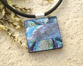 Glass Jewelry, Metallic Necklace, Dichroic Glass Necklace, Fused Glass Jewelry,Rainbow Mettalic Krinkle, Necklace Included,Silver 090115p104