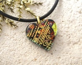 Glass Jewelry, Petite Heart, Heart Necklace, Fused Glass Jewelry, Gold Heart Pendant, Necklace Included, Fused Glass Jewelry, 090215p111
