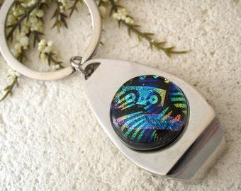 Key Ring, Bottle Opener. Key Chain, Glass Key Ring, Blue Unisex Key Ring, Beer Opener, Glass Opener, Dichroic Glass Jewelry, 080115kr100