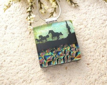 Horse Necklace, Dichroic Fused Glass, Petite Jewelry, Horse Pendant, Horse Jewelry, Fused Glass Jewelry, Necklace Included, 090215p106