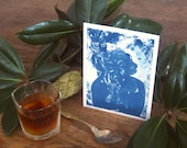Eudora Welty - Archival print of cyanotype from an original portrait drawing - Edition of 30 - Version 2