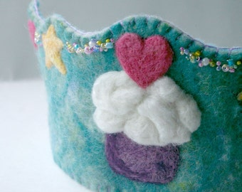 Cupcake Birthday Crown: Custom Made Waldorf Style Wool Crown (You Choose Colours)
