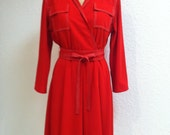 Vintage Early 1980's Red Dress with White Topstitching