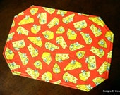 Quilted Placemats, Reversible, Cute Blind Mice & Cheese Wedges on Bright Red and Swiss Cheese, Handmade Table Linens, Set of 4