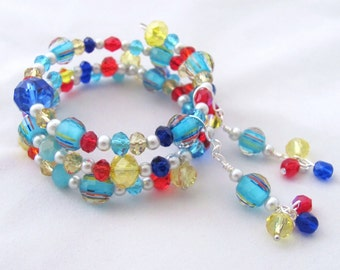 Three Strand Memory Wire Bracelet and Earring Set Jewel Tones Blue Yellow Red Bright One Size Fits Most Gift Idea for Girlfriends