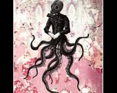 "Print 11x14"" - Victoriandustrial 9 - Victorian Octopus Industrial Revolution Tentacles Steampunk Fantasy Edwardian Gothic Gas Mask Pop"