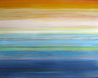 """The Magic Hour contemporary abstract painting on canvas stripes sunset 24"""" x 36"""""""