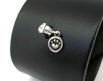 Black Leather Cuff Bracelet with Pet Paw Sterling Silver Ohm Bead, Adjustable Size, Eco Friendly Recycled Belt Band, OOAK