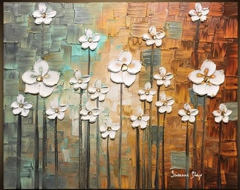 ORIGINAL Art Abstract Landscape Oil Painting White Flower Blossom Home Decor Texture Art Modern Brown Blue Painting Canvas by Susanna