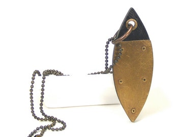 Oxidized Brass and Black Resin Riveted Pendant Necklace - Relevant