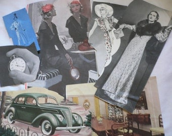 7 (Seven) pieces of Ephemera from a Vintage Magazine, Women, Fashion, Old Car, Hats, Furniture, Stop Watch, Collage, Scrap Booking Supply