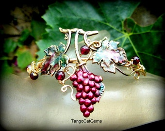 Garnets and  Grapes Hand Painted  Bracelet