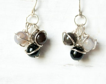 Silver and Black Cluster Earrings, Wire Wrapped Jewelry