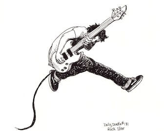 No.181 Rock Star / Original Artwork / Daily Doodle / Art Print / Rockin with a Guitar / Jumping / Rockin Out