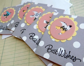Best Wishes Mini Note Card Set Handmade Square Stamped Greeting Cards