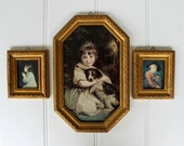 Clearance Sale - Vintage Florentine Wall Decor - Girl with Dog - Girl Praying - Italian Boy - Made in Italy