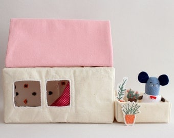 two windows house + pink roof top - modular house, miniature to play