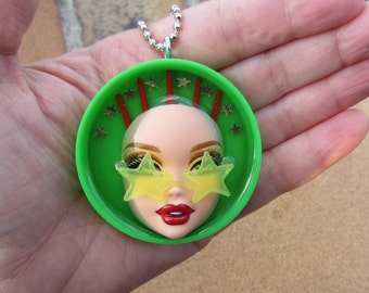 Seeing Stars - upcycled doll bottle cap pendant