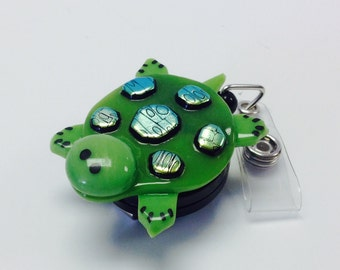 Retractable Badge Reel Fused Glass Turtle.