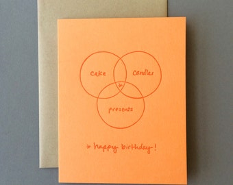 Venn Diagram: Happy Birthday, single letterpress card