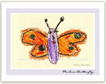 Photo Notecard, choose 1 - Emma's art: Butterfly, Bird singing OR Big red fish - print mounted on notecard - nature crayon drawing chalk art