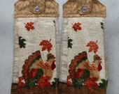 Set of 2 - Hanging Cloth Top Kitchen Hand Towels - Autumn Leaf Print, Plush TURKEY Towels