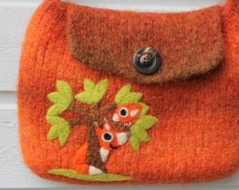 Felted bag purse orange wool pouch handbag  hand knit needle felted bird fox tree
