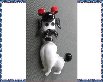 Vintage Black and White Enamel French Poodle Dog Pin Brooch with Red Bow, 50s,  costume jewelry