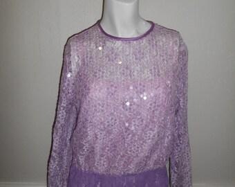 Vintage 80's 90s Stretch floral lace sequin  purple Body suit bodysuit  womens women ladies