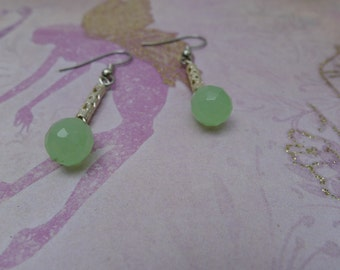 Silver Filigree Tube & Green Quartzite Drop-Adria Earrings