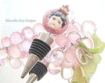 Wine Diva Wine Bottle Stopper Lorelie Kay Original China Doll Head Princess Queen Wine Lover Gift Stocking Stuffer