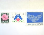 Vintage Wedding Postage Stamps, Double Love Blue Doves Pink Rose, Lace, Mail 20 Invites 2 oz, 71 cents postage stamps, Pink and Blue Stamps
