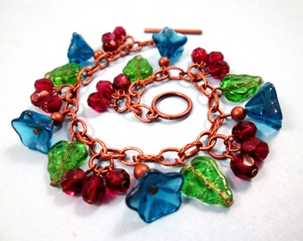 Flower Charm Bracelet, Blue Blossoms and Red Berries, Colorful and Copper Beaded Bracelet, FREE Shipping U.S.