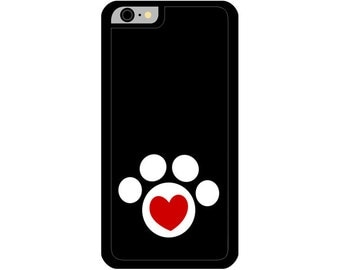Phone Case - Red Heart in Paw - Hard Case for iPhone 4, 4s, 5, 5s, 5c, SE, 6, 6 Plus, 7, 7 Plus - iPod Touch 4, 5/6 - Galaxy