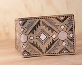 Wallet - Leather Wallet - Bifold Wallet - Mens Wallet - Southwest style - Geometric - Handmade in the Four Corners pattern in black + white