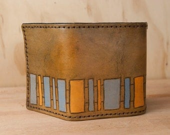 Mens Wallet Trifold // Rustic Leather Wallet in the Geometric Lino Pattern