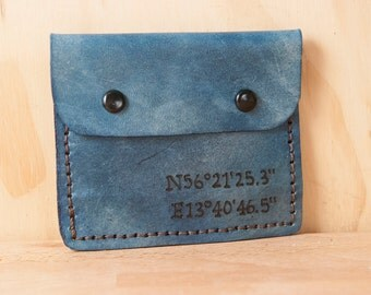 Leather Mini Wallet - Find Me Here Pattern in blue - Personalized Coordinate Wallet - Handmade leather front pocket wallet - Coin wallet