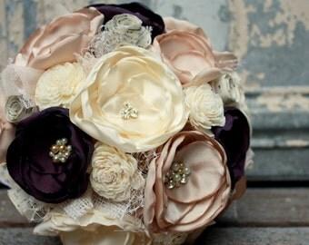Eggplant wedding bouquet, Plum brides bouquet, Fabric flower bouquet with burlap, chiffon, vintage sheet music and sola flowers