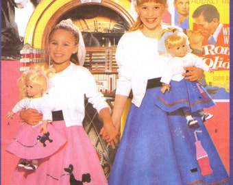 "Butterick 5658 Poodle Skirt for 18"" Doll  ©1998 Butterick Twins Pattern Girl's Skirt, too"