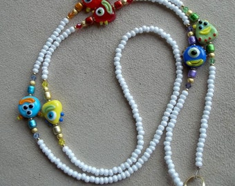 Cutie Creatures Handmade Beaded Id Badge Holder Lanyard