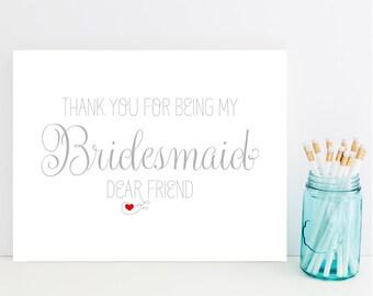 Card for Bridesmaid - Bridesmaid Thank You Card - Maid of Honor Thank You - Matron of Honor Thank You