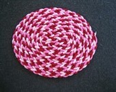 Dollhouse Miniature Oval Braided Rug (Burgundy, Pink and Light Pink)
