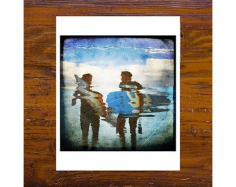 8x8 print [JCP-058] - Two surfers reflection 02