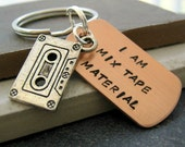 I Am Mix Tape Material Keychain with cassette tape charm, makes a great gift, confidence, a great catch, optional initial disc