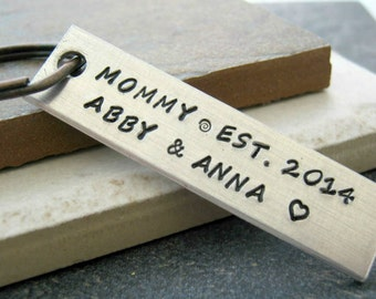 Personalized Mother's Day Keychain, hand stamped, Mom's Keychain, Grandma Keychain, 15 characters per line including spaces, 2 lines max