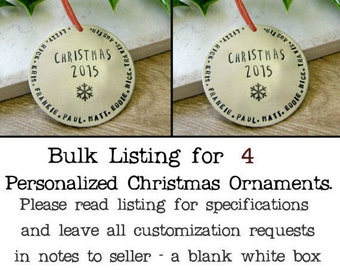 BULK DEAL - qty 4 - Personalized Silver Christmas Ornament, Family ornament, Personalized ornament, 47 characters around edge